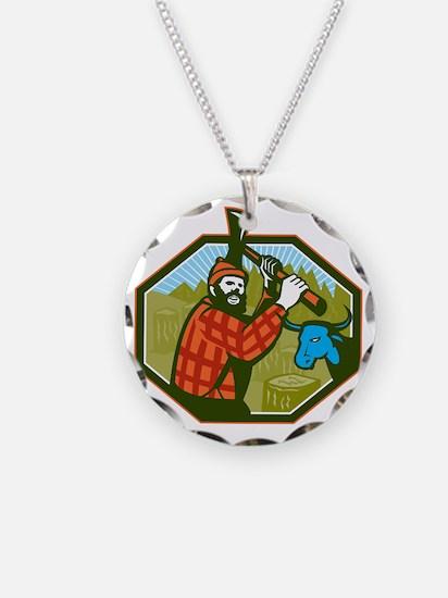 Paul Bunyan LumberJack Axe B Necklace