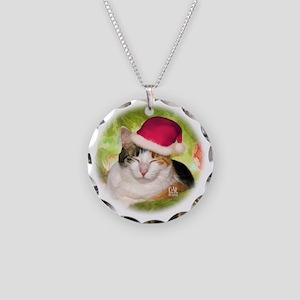 Christmas Calico Necklace Circle Charm