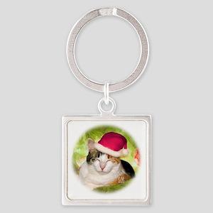 Christmas Calico Square Keychain