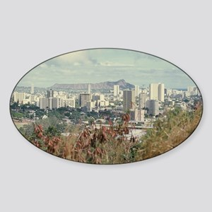 """Honolulu  And  Diamond Head"" Sticker (Oval)"