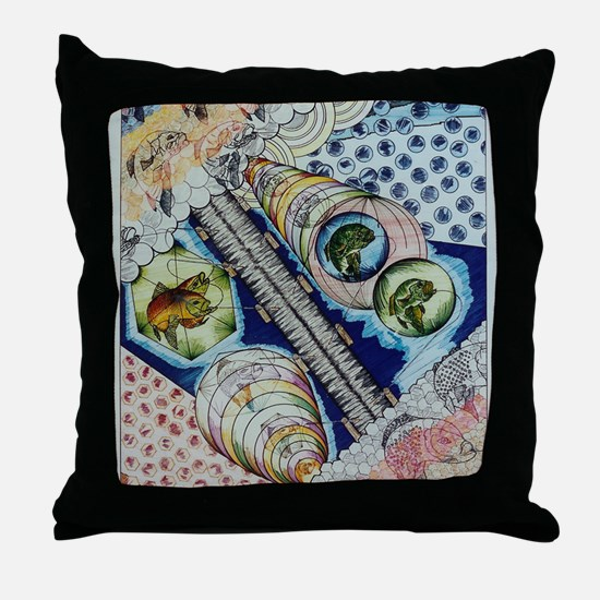 fishing over the object Throw Pillow