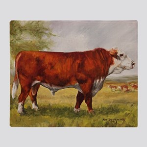 Hereford Bull The Champion Throw Blanket