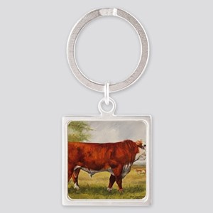 Hereford Bull The Champion Square Keychain