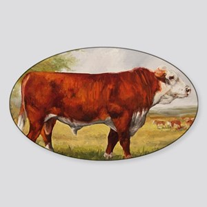 Hereford Bull The Champion Sticker (Oval)