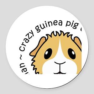 Crazy Guinea Pig Woman Round Car Magnet
