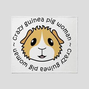 Crazy Guinea Pig Woman Throw Blanket