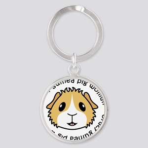 Crazy Guinea Pig Woman Round Keychain