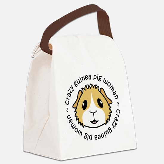 Crazy Guinea Pig Woman Canvas Lunch Bag