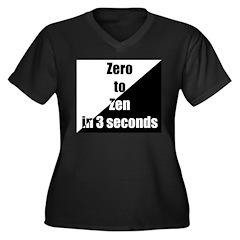 Zero to Zen Women's Plus Size V-Neck Dark T-Shirt