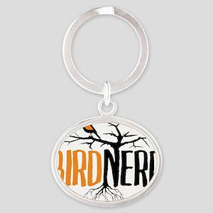 Bird Nerd (Black and Orange) Oval Keychain