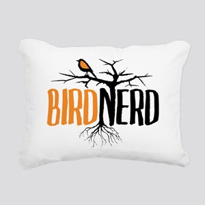 Bird Nerd (Black and Ora Rectangular Canvas Pillow