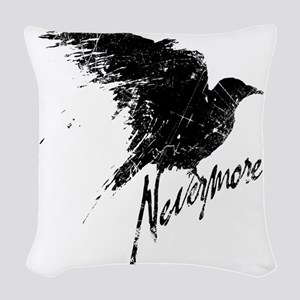 Nevermore Raven Woven Throw Pillow