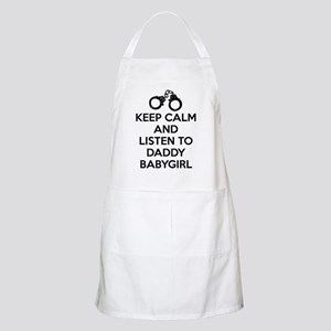 Keep Calm and Listen to Daddy w/ Handcuffs Apron