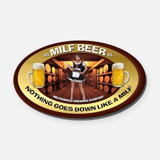 Milf Beer Oval Car Magnet