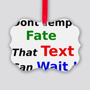 Dont Tempt Fate that Text can Wai Picture Ornament