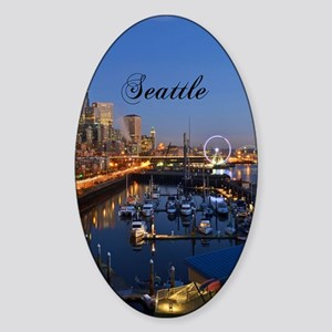 Seattle_5X7_Card_SeattleWaterfront Sticker (Oval)