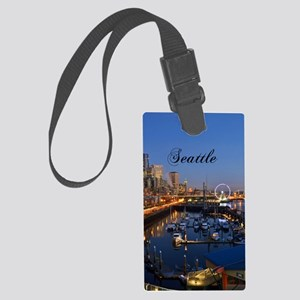 Seattle_5X7_Card_SeattleWaterfro Large Luggage Tag