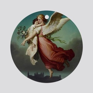 Guardian Angel by Wilhelm Von Kaulb Round Ornament