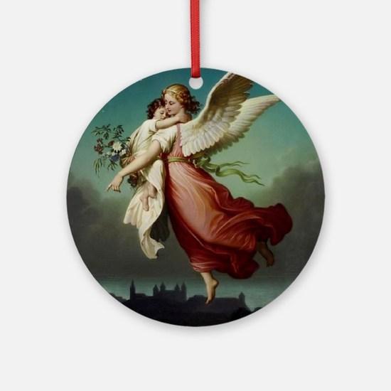 Guardian Angel by Wilhelm Von Kaulb Round Ornament