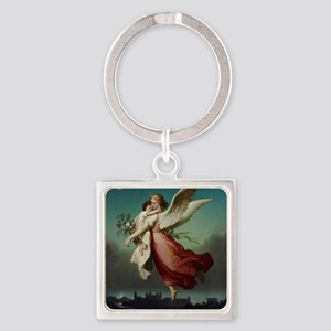 Guardian Angel by Wilhelm Von Kaul Square Keychain