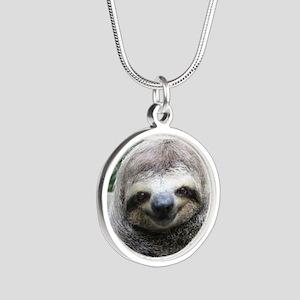 Killer Sloth Silver Round Necklace