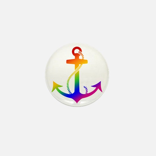 Rainbow Anchor Mini Button