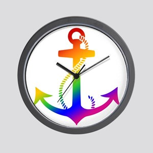 Rainbow Anchor Wall Clock