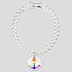 Rainbow Anchor Charm Bracelet, One Charm