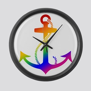 Rainbow Anchor Large Wall Clock