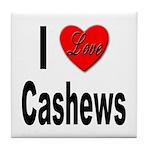 I Love Cashews Tile Coaster