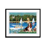 Sailboats & Basset Framed Panel Print