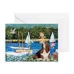 Sailboats & Basset Greeting Cards (Pk of 10)