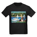 Sailboats & Basset Kids Dark T-Shirt