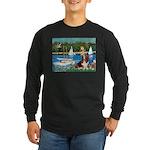 Sailboats & Basset Long Sleeve Dark T-Shirt