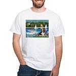 Sailboats & Basset White T-Shirt