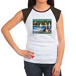 Sailboats & Basset Women's Cap Sleeve T-Shirt