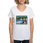 Sailboats & Basset Women's V-Neck T-Shirt