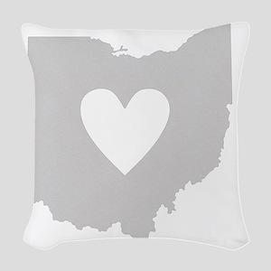 Heart Ohio state silhouette Woven Throw Pillow