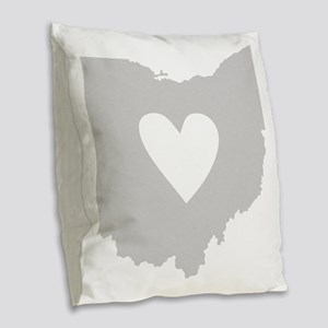 Heart Ohio state silhouette Burlap Throw Pillow
