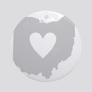 Heart Ohio state silhouette Round Ornament