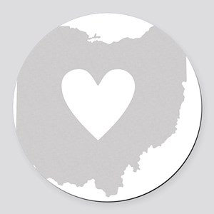 Heart Ohio state silhouette Round Car Magnet