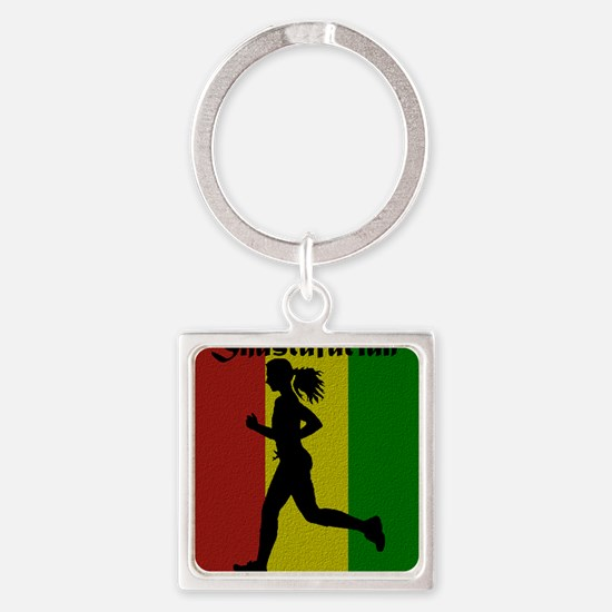 Get your jog on! Square Keychain