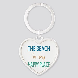 The Beach Is My Happy Place Heart Keychain