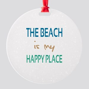 The Beach Is My Happy Place Round Ornament