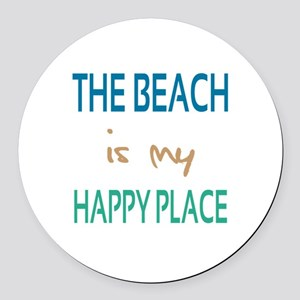 The Beach Is My Happy Place Round Car Magnet