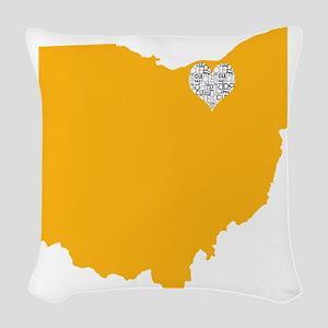 Ohio Cleveland Heart Woven Throw Pillow