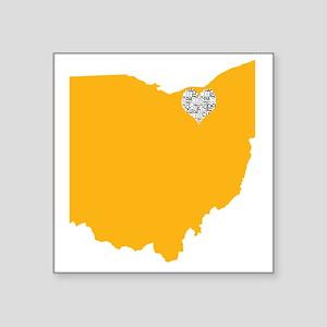 """Ohio Cleveland Heart Square Sticker 3"""" x 3"""""""