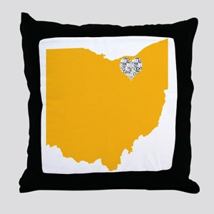 Ohio Cleveland Heart Throw Pillow