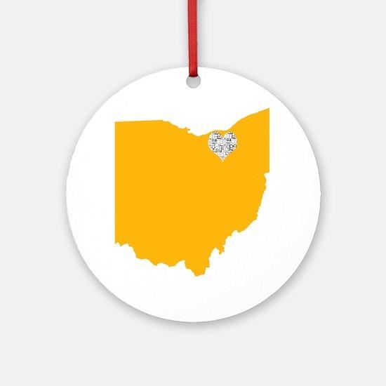 Ohio Cleveland Heart Round Ornament