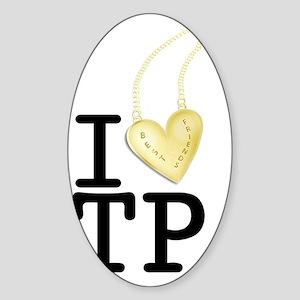 I love Twin Peaks (Gold Heart Neckl Sticker (Oval)